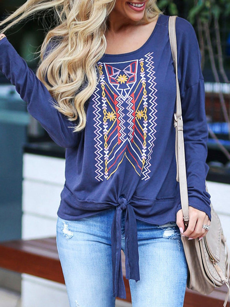 Casual Round Neck Animal Knot Front Tops