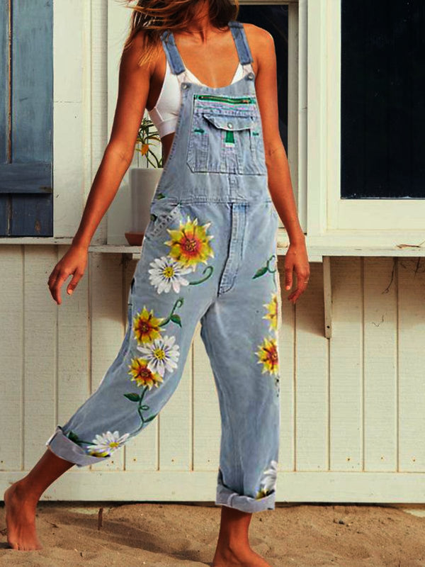 Sleeveless Denim Floral-Print One-Pieces Jumpsuit Overalls