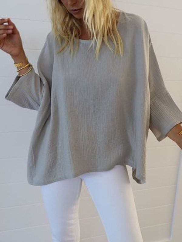 Casual 3/4 Sleeve Round Neck Plus Size Tops