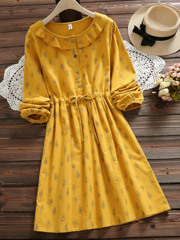 Long Sleeve Cotton Buttoned Dresses