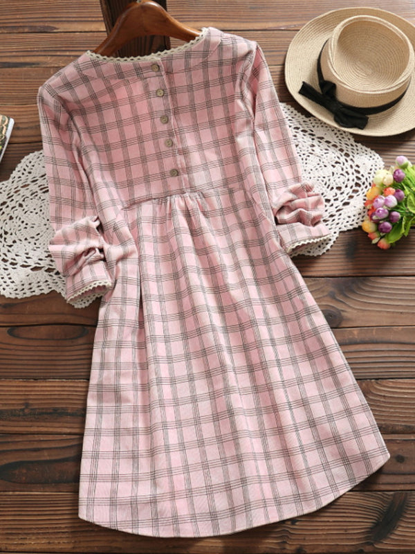 Pink Buttoned Cotton Long Sleeve A-Line Dresses