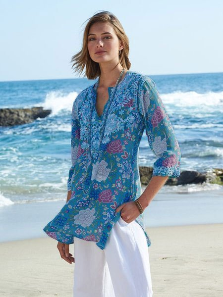 Blue V Neck Patchwork Boho Shirt