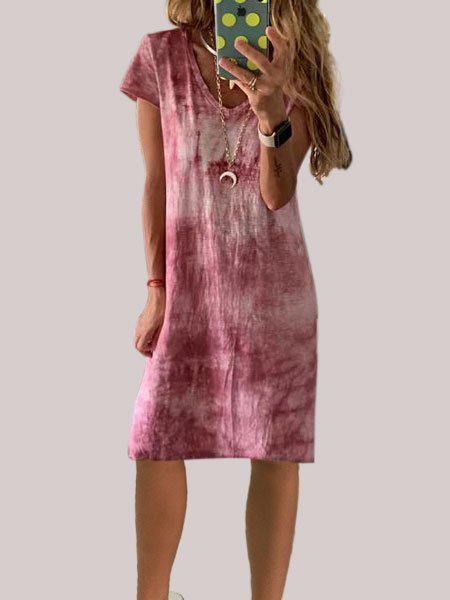 Polyester Short Sleeve V neck Tie-dye Dress