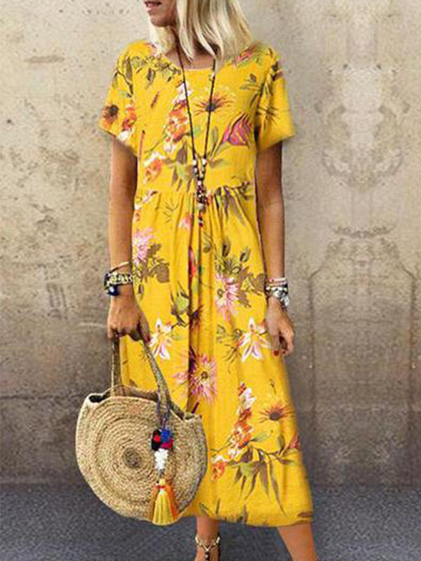 Yellow Short Sleeve Casual Printed Dresses