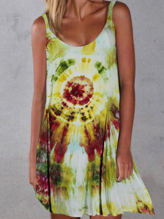 Tie Dye Round Neck Sleeveless Dresses