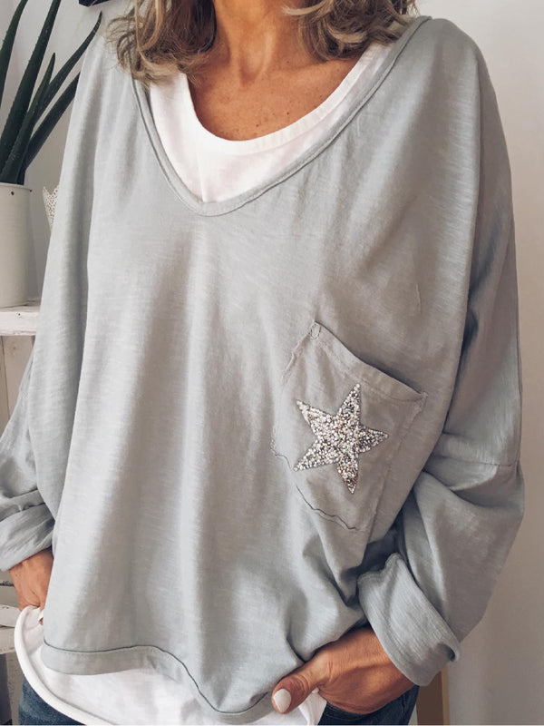 Grey Holiday Cotton-Blend Pockets V Neck Shirts & Tops