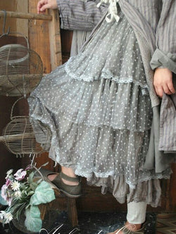 Gray Cotton-Blend Polka Dots Vintage Skirts