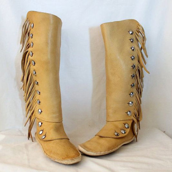 Yellow Flat Heel Leather Winter Tassel Boots