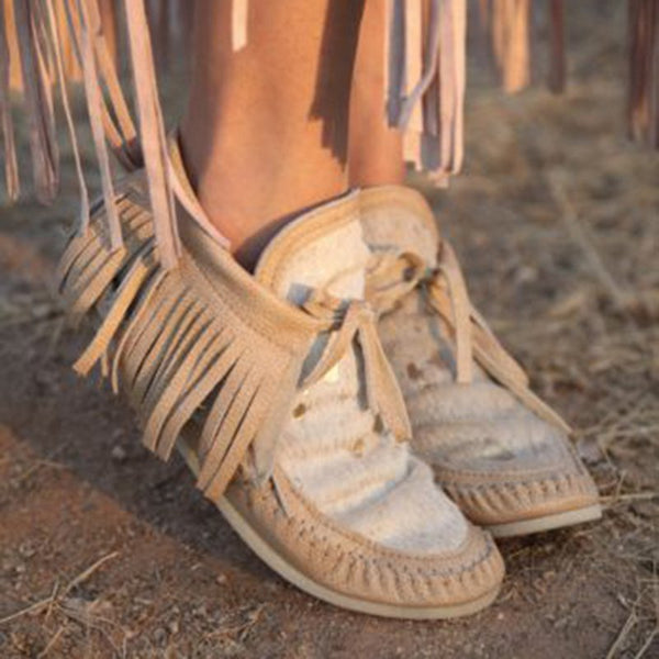 White Winter Suede Tassel Boots
