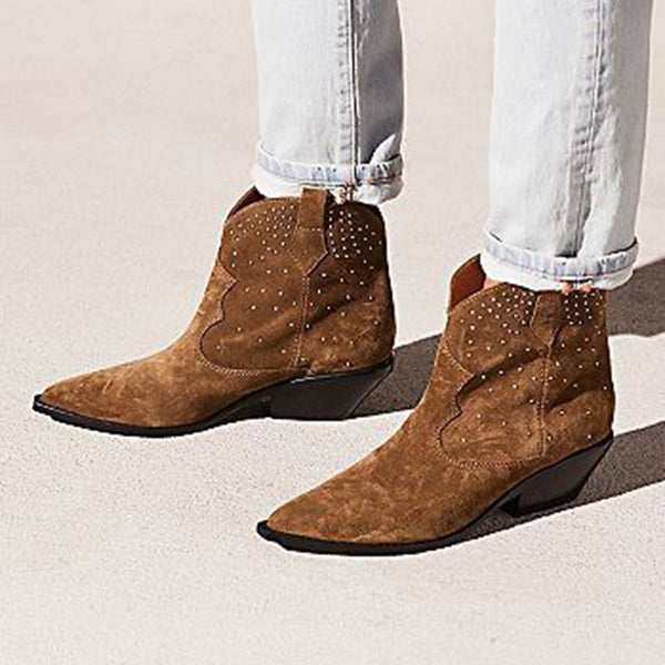 Brown Suede Chunky Heel Winter Boots