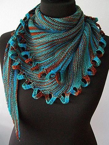 Blue Vintage Cotton-Blend Scarves & Shawls