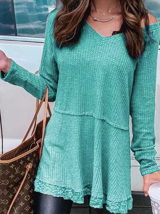 Long Sleeve Casual V Neck Shirts Blouses