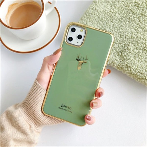 Luxury Electroplated Bumper Glossy Cover With Elk Pattern for iPhone