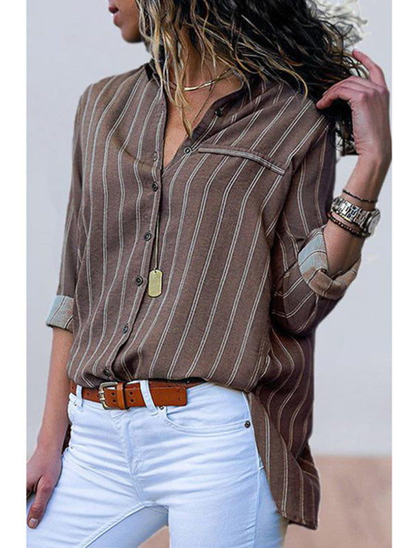 Casual Loose Striped Lapel Collar Blouses