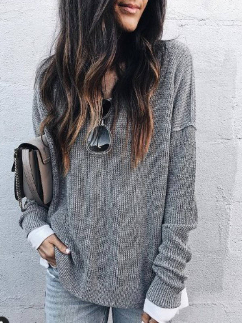 Gray Casual Plain V Neck Cotton Shirts & Tops