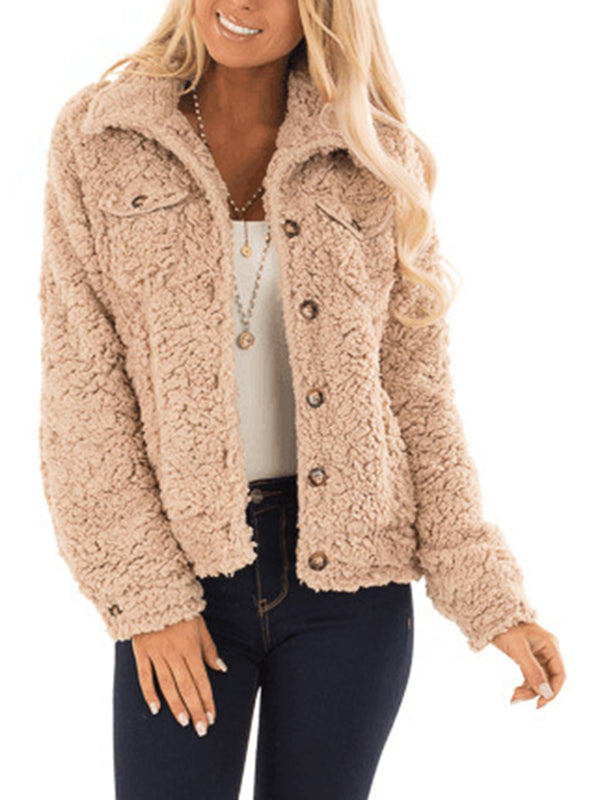 Cotton Shawl Collar Long Sleeve Pockets Teddy Bear Coats