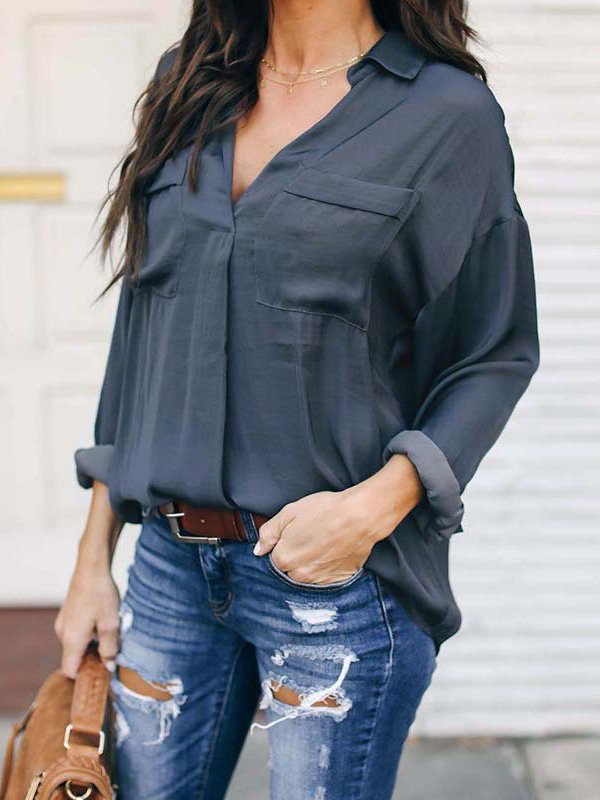 2019 Spring Plus Size Pure Color V Neck Lady's Blouses