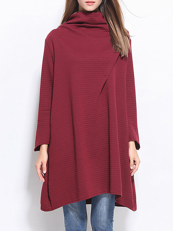 Cowl Neck Casual A-Line Pleated Tunics