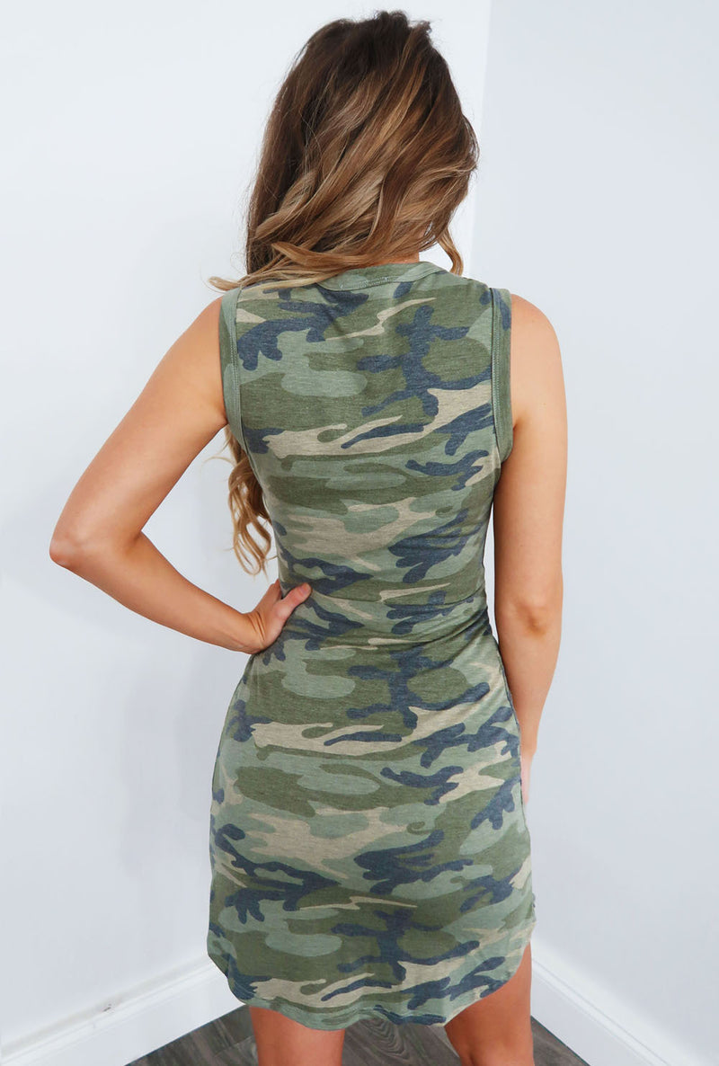 Camouflage Casual Sheath Camo Dresses