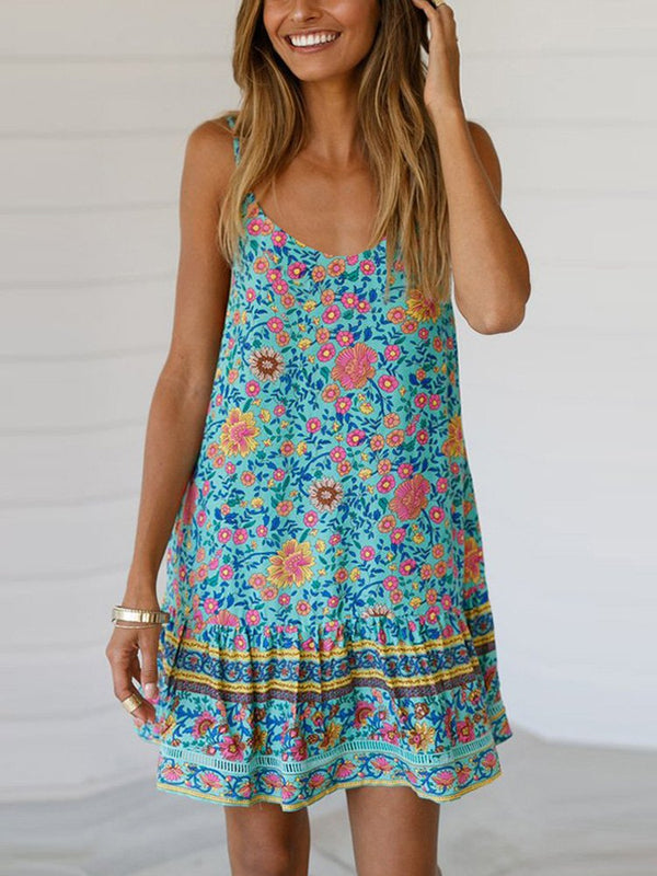 Dresses Printed Halter V-Neck Sling Ruffled