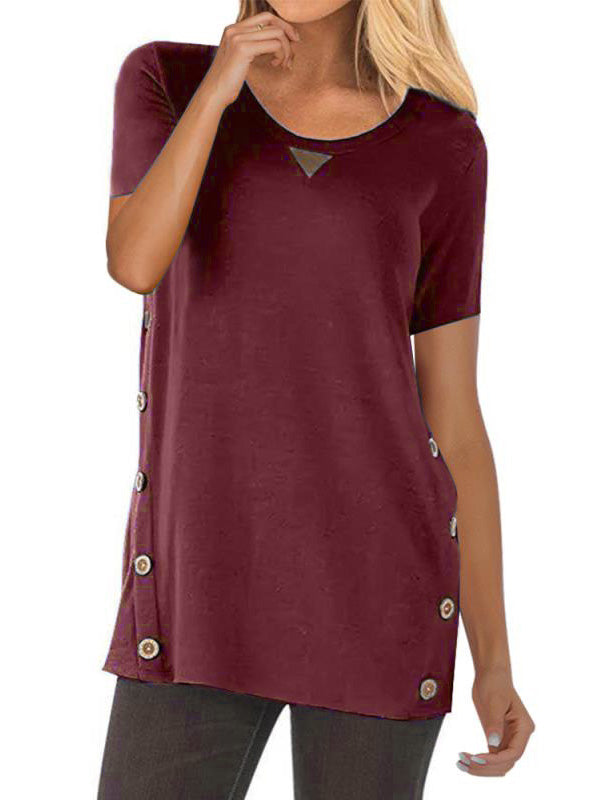 Blouses Solid Color Buttoned Short-Sleeved T-Shirts