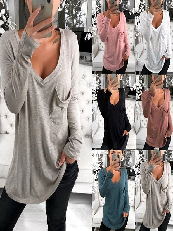 V-Neck Pocket Long Sleeve Bottoming T-Shirt