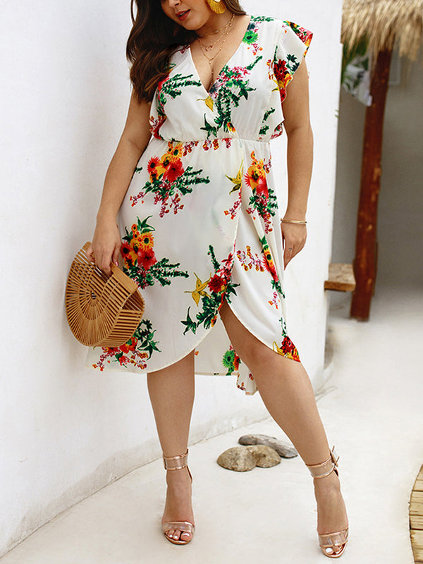 Plus Size Sleeveless V-Neck Print Dress