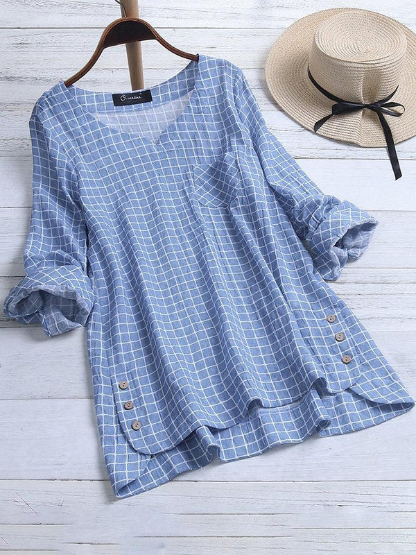 Round Neck Casual Cotton Shirts Blouses
