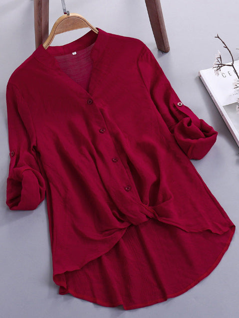 Long Sleeve V Neck Solid Shirts