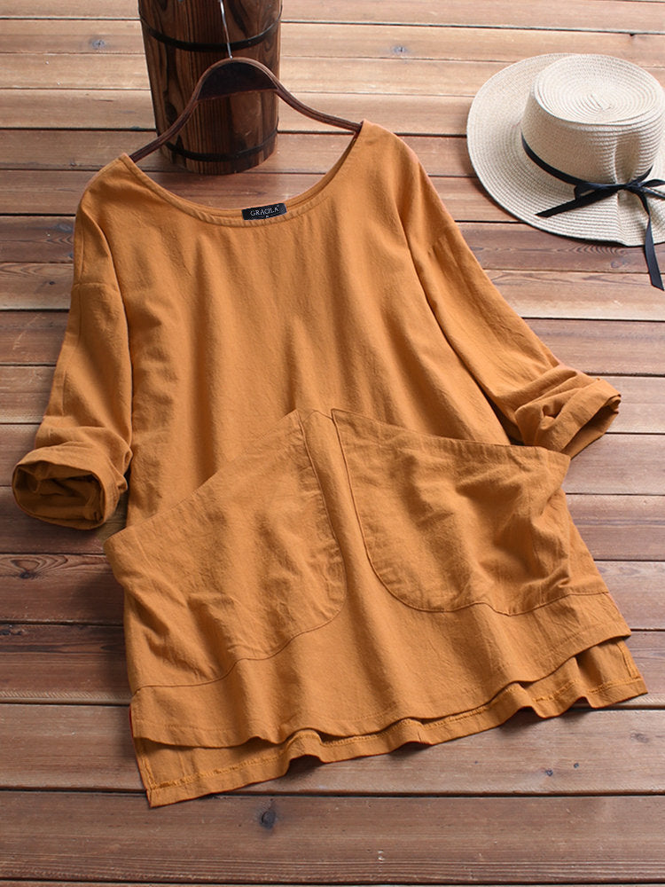 Long Sleeve Cotton Round Neck Shirts Blouses