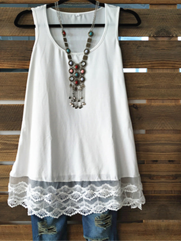 Solid Color Sleeveless Lace Hem T-Shirt