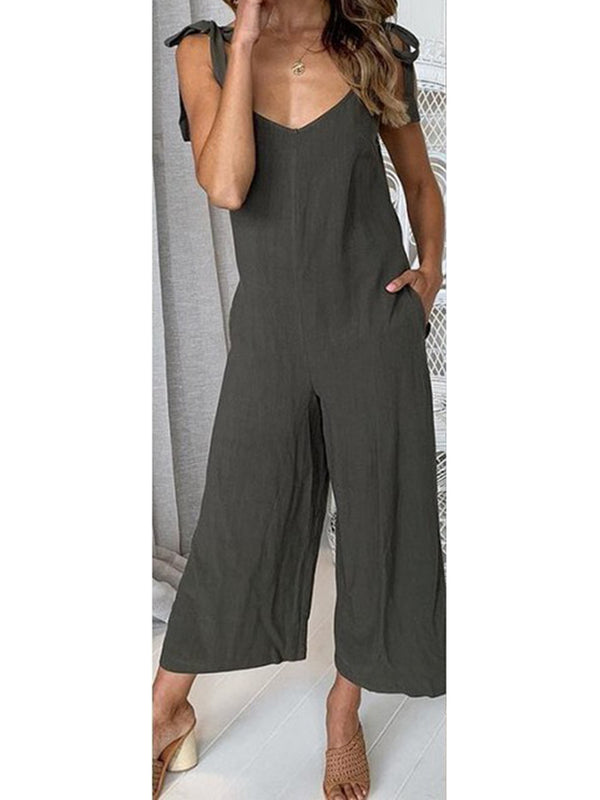 Womens Clothing Sleeveless Pockets Solid Jumpsuits