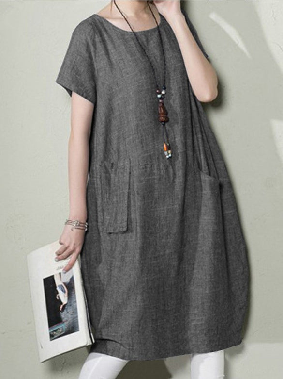 Round Neck Casual Short Sleeve Dresses