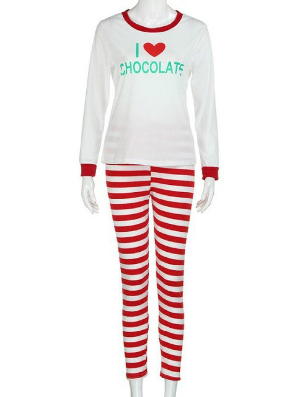 Christmas White Casual Cotton-Blend Sleepwear & Loungewear
