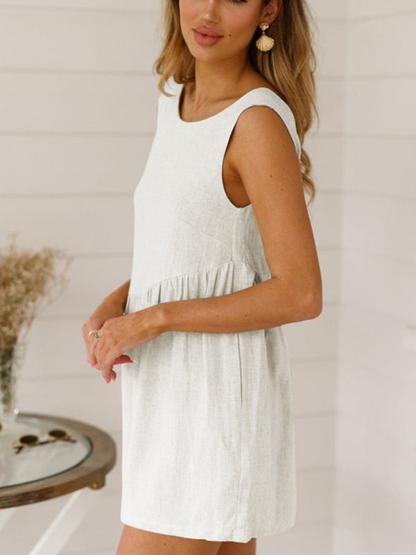 Round Neck Backless Sleeveless Jumpsuit
