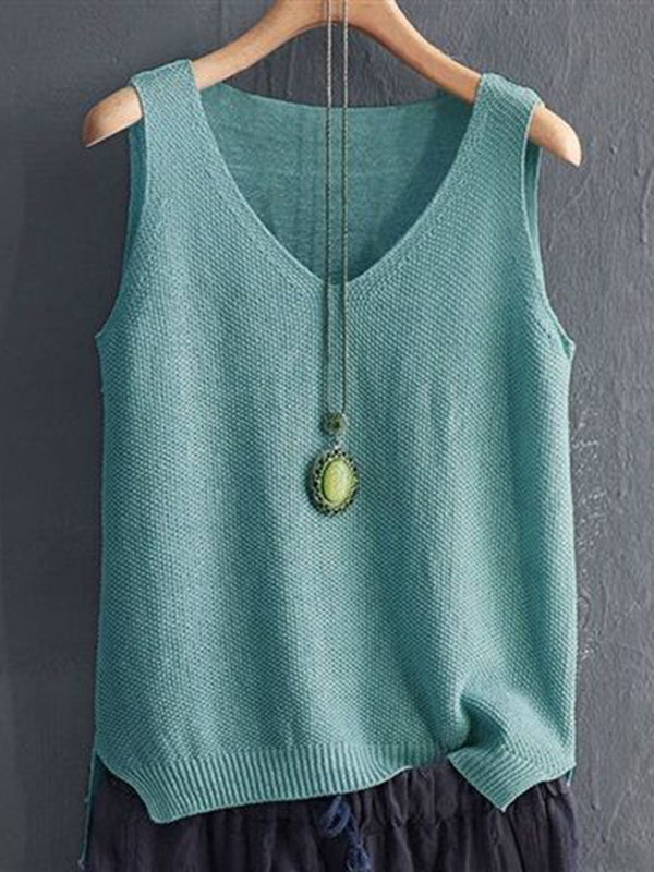 Holiday Solid Sleeveless Shirts & Tops