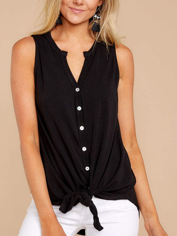 V Neck Casual Sleeveless Shirts Blouses