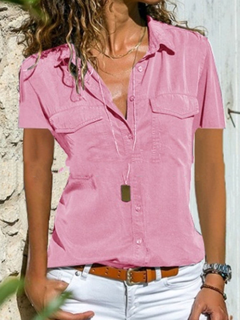Women Summer Pockets Blouses Casual Short Sleeve Tops
