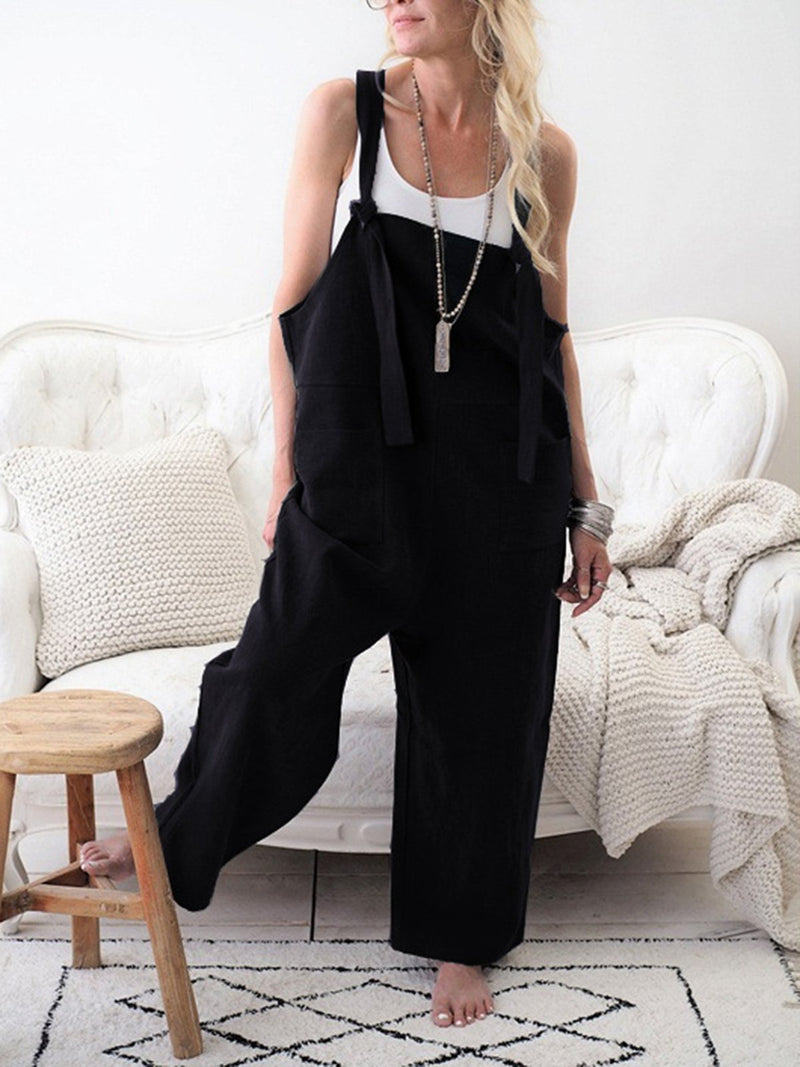 Casual Cotton Pockets Sleeveless Boyfriend Jumpsuits