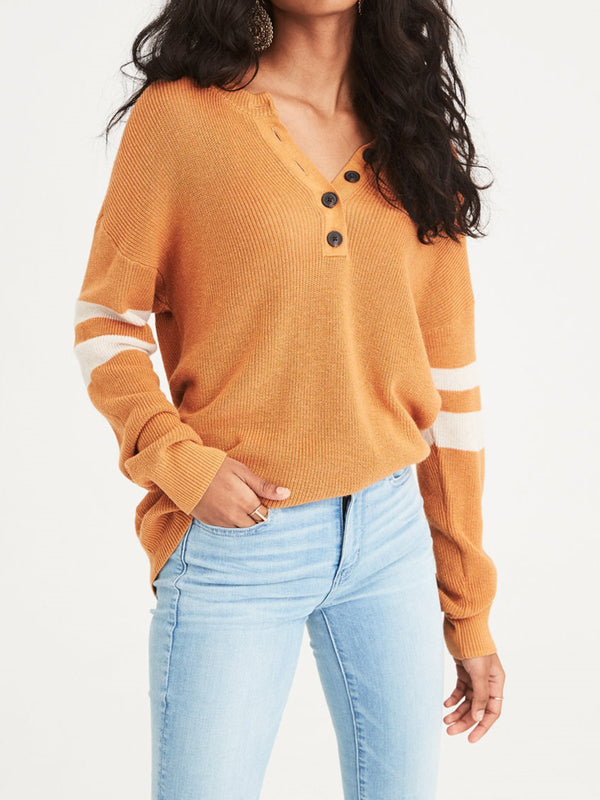 Solid V-Neck Casual Buttoned Sweatershirt