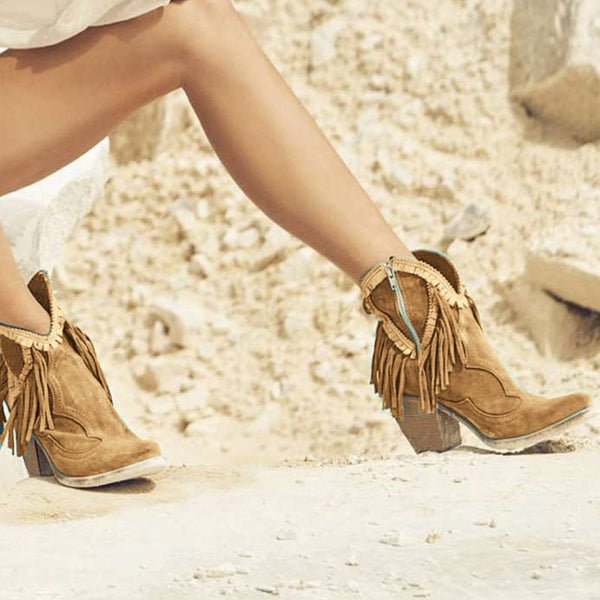Faux Suede All Season Tassel Casual Boots
