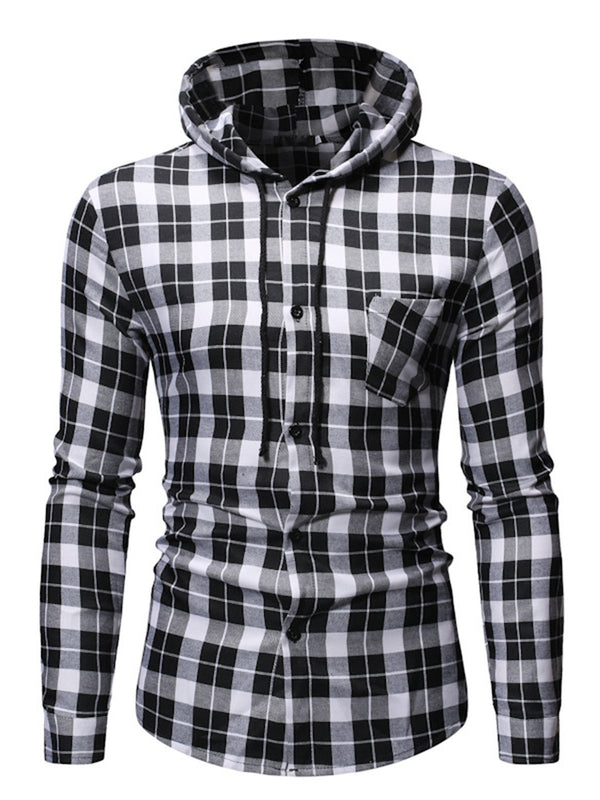 Men Casual Cotton Long Sleeve Plaid Hooded Shirts & Tops