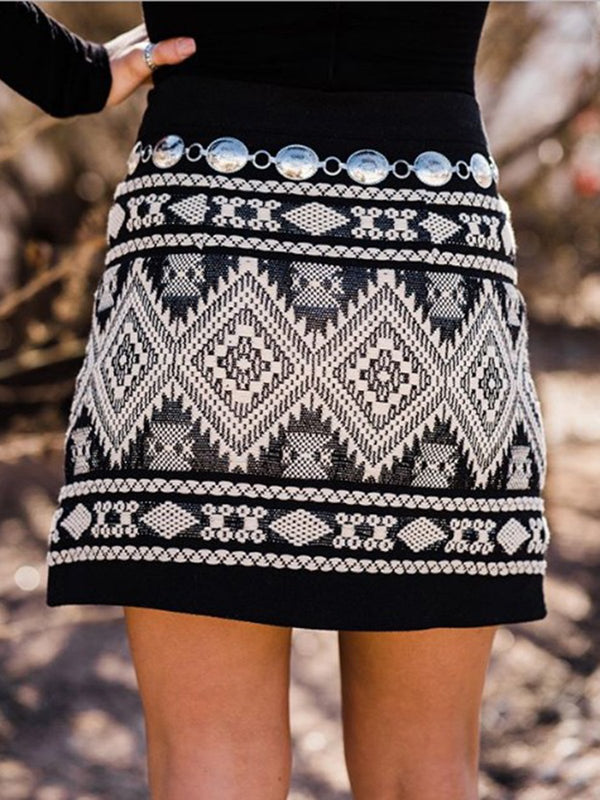 Black Casual Geometric Cotton-Blend Skirts