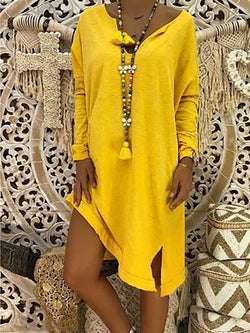 V Neck Long Sleeve Casual Dresses