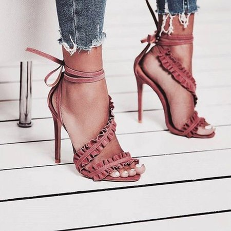 Flocking Ruched Lace-Up Stiletto Heel Pumps