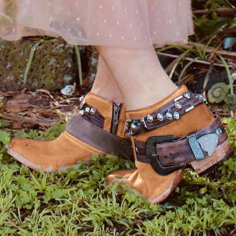 Adjustable Buckle Block Heel Leather Casual Boots