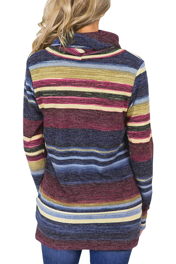 Casual Long Sleeve Striped Cotton Hoodies