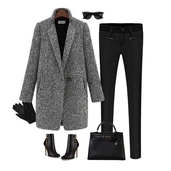 Black Long Sleeve Solid Coat