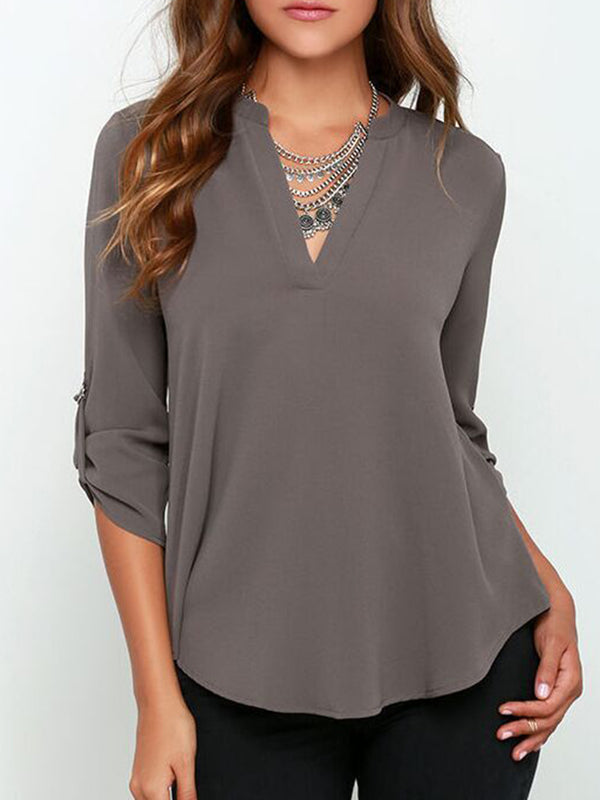 3/4 Sleeve Solid Crew Neck Casual Plus Size Blouse