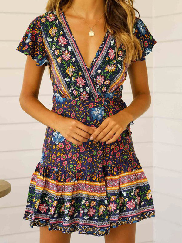Holiday V-Neck High Waist Flower Warp Dress